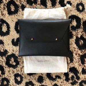 Black Leather Envelope Clutch NWOT